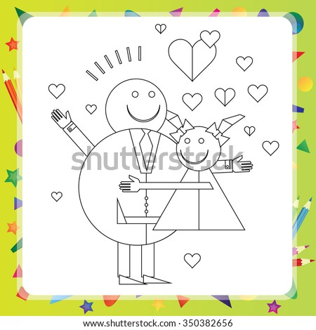 Black and White Cartoon Vector Illustration Father with daughter for Coloring Book