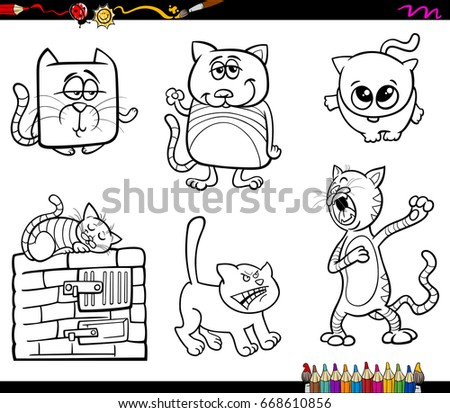 Black And White Cartoon Vector Illustration Of Cats Or Kittens Animal Characters Set Coloring Book