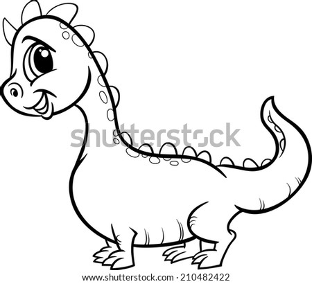 Black and White Cartoon Vector Illustration of Cute Dragon Fantasy Character for Coloring Book - stock vector