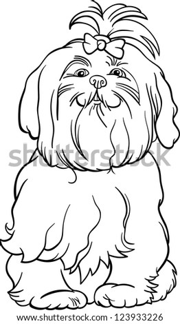 Stock vector black and white cartoon vector illustration of cute