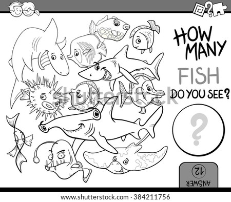 Black and White Cartoon Vector Illustration of Educational Counting Task for Preschool Children with Fish Animal Characters Coloring Book - stock vector