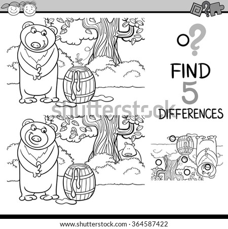 Black and White Cartoon Vector Illustration of Finding Differences Educational Task for Preschool Children with Beaver Animal Character for Coloring Book - stock vector