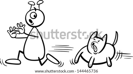 Black and White Cartoon Vector Illustration of Funny Alien or Martian Comic Character Running Away form Dog to Coloring Book - stock vector