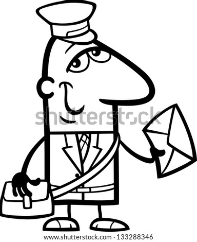 Black and White Cartoon Vector Illustration of Funny Postman with Letter Profession Occupation for Coloring Book - stock vector