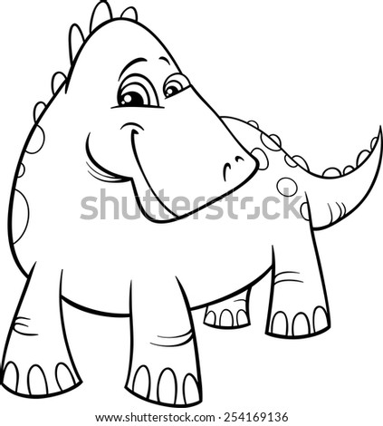 Black and White Cartoon Vector Illustration of Funny Prehistoric Dinosaur or Fantasy Dragon for Coloring Book - stock vector