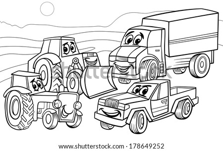 Black and White Cartoon Vector Illustration of Funny Vehicles and Machines or Trucks Cars Comic Characters Group for Coloring Book - stock vector