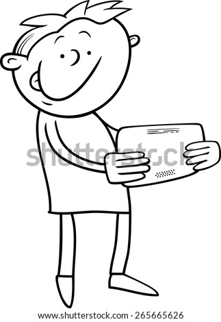 Black and White Cartoon Vector Illustration of Kid Boy Playing on Tablet for Coloring Book