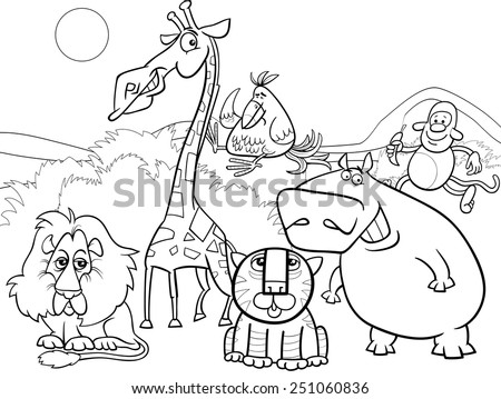 Black and White Cartoon Vector Illustration of Scene with Wild Safari Animals Characters Group for Coloring Book - stock vector