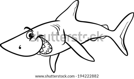 Black and White Cartoon Vector Illustration of Shark Fish Sea Life Animal for Coloring Book - stock vector