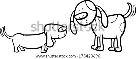 Black and White Cartoon Vector Illustration of Two Funny Dogs Wagging their Tails for Coloring Book - stock vector