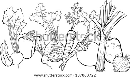 Black White Cartoon Vector Illustration Vegetables Stock Vector ...