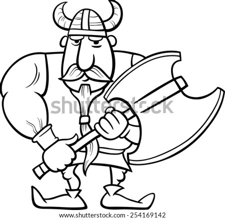Black and White Cartoon Vector Illustration of Viking or Knight with Axe for Coloring Book - stock vector