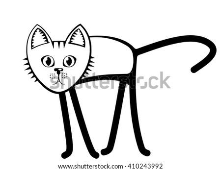 Black-and-white cat. Flat. Cartoon. - stock vector
