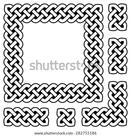 Black and white Celtic knot frame and design elements, vector illustration (sharp corners) - stock vector