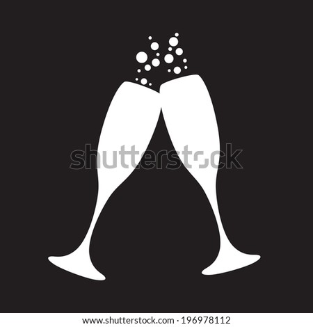 black and white champagne glasses with bubbles - stock vector