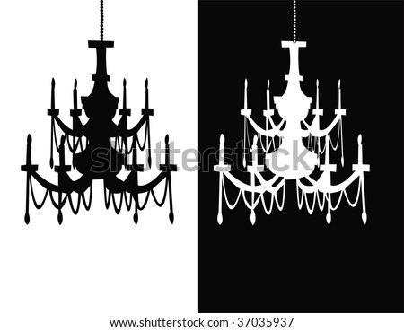 black and white chandelier silhouettes - stock vector