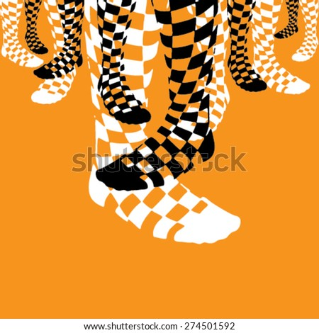 Black and White Checkered Socks on Orange Background - stock vector