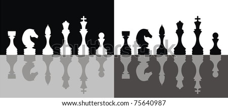 Black And White Chess Figure Silhouettes. vector - stock vector