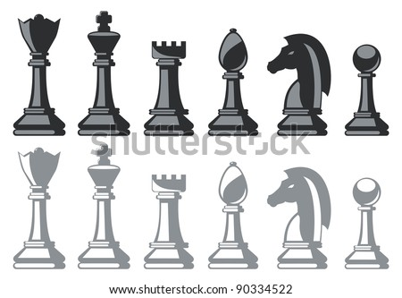 black and white chess pieces isolated on white - stock vector