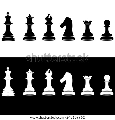 Black and white chess pieces vector icon set - with king, queen, bishop, knight, rook, pawn