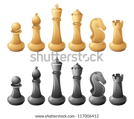 Black and white chessmans - stock vector