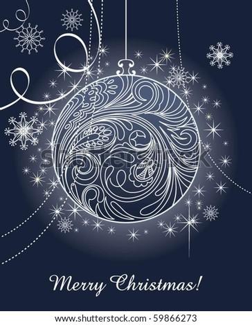 Black and White Christmas ball illustration - stock vector