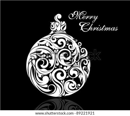 Black and White Christmas ball made by swirling flourishes - vector illustration - stock vector