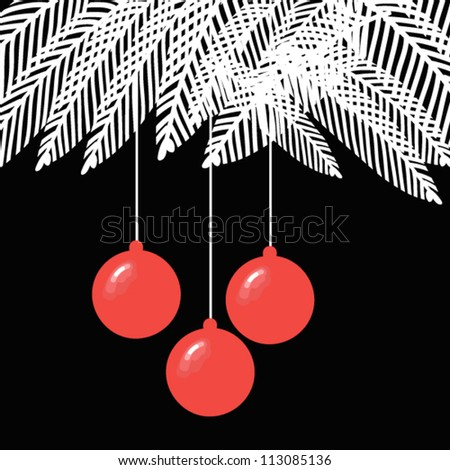 Black and White Christmas balls illustration with spruce branches - stock vector