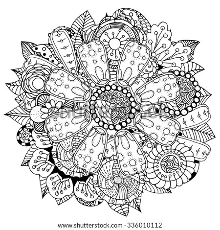 Black and white circle flower ornament, ornamental round lace design. Floral mandala. Hand drawn ink pattern made by trace from personal sketch. - stock vector
