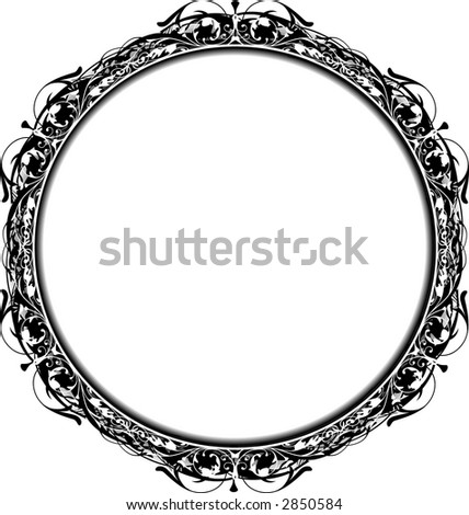 Black and white circle victorian grunge frame for text or photos. All elements are on separate layers for easy editing and color change. - stock vector