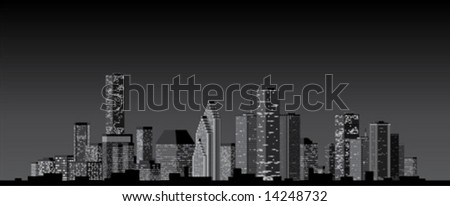 Black and white city skyline at night.  Vector illustration.