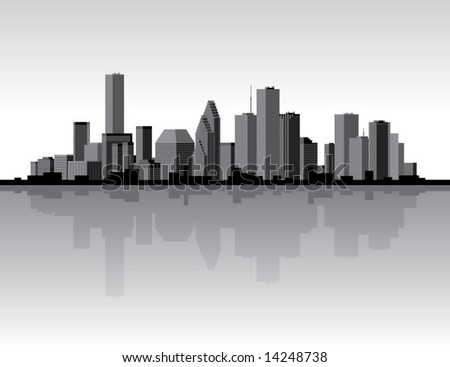Black and white city skyline with reflection.  Vector illustration.