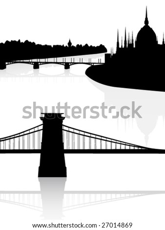 Black and white city view - stock vector