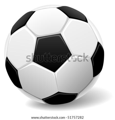 Black and white classic soccer ball vector illustration. - stock vector
