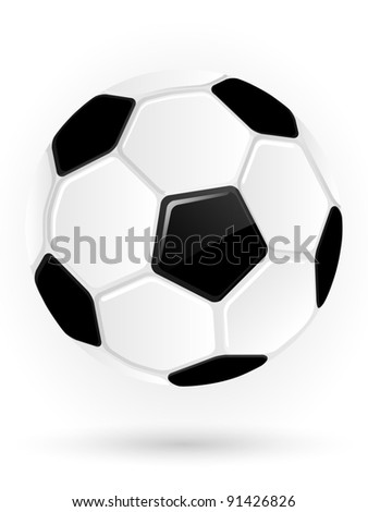 Black and white classic soccer ball. Vector illustration. - stock vector