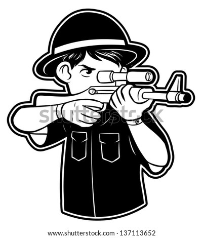 black and white clipart Hunter - stock vector
