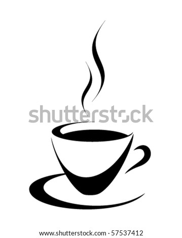 Black and white coffee cup - stock vector