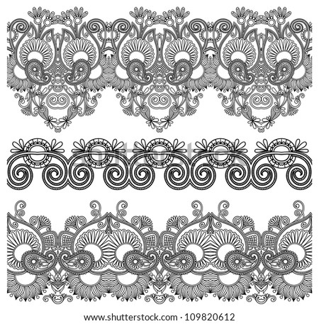 black and white collection of seamless ornamental floral stripes