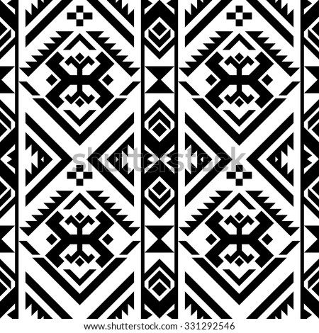 black and white color tribal Navajo seamless pattern ...