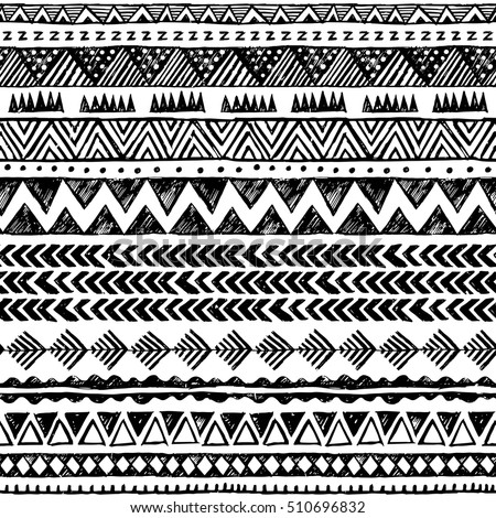 Black And White Color Tribal Vector Seamless Pattern Aztec Abstract Geometric Art Print Ethnic