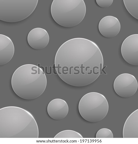 Black and white colored circles with light spot and reflection. Vector seamless background. Geometric pattern - stock vector