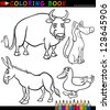 Black and White Coloring Book or Page Cartoon Illustration Set of Funny Farm and Livestock Animals for Children - stock vector