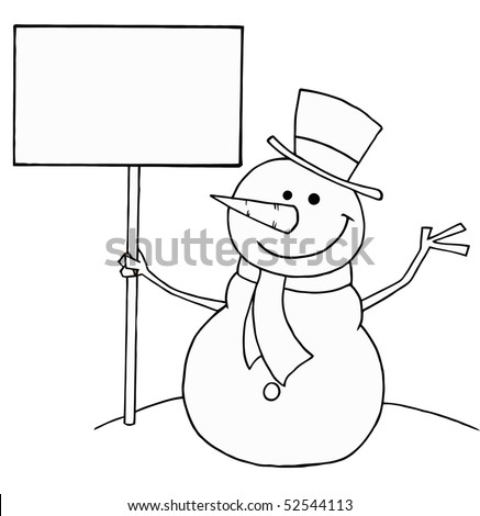 Black And White Coloring Page Outline Of A Snowman Holding A Sign - stock vector