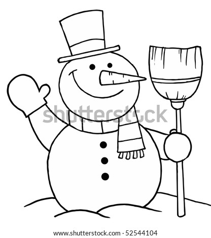 Black White Coloring Page Outline Snowman Stock Vector 52544104 ...