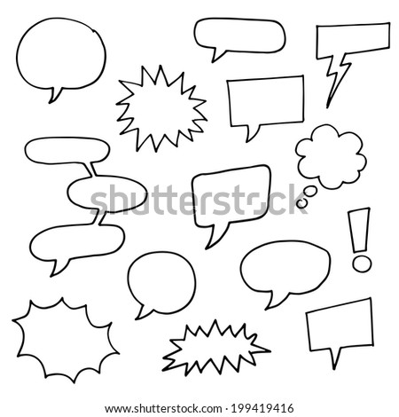 Black and white Comic Book Speech bubbles - vector sketch illustration