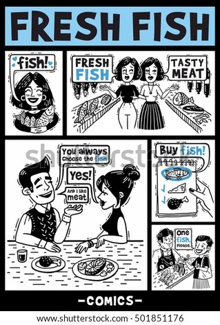 black and white comics about people and fish