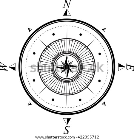 black and white compass with wind rose