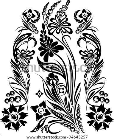 Black-and-white composition from the stylized plants_2 - stock vector