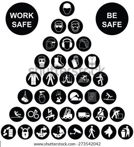 Black and white construction manufacturing and engineering health and safety related pyramid icon collection isolated on white background with work safe message - stock vector