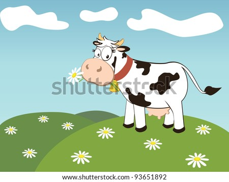 black and white cow eating daisy and cloud on the sky.vector illustration. - stock vector